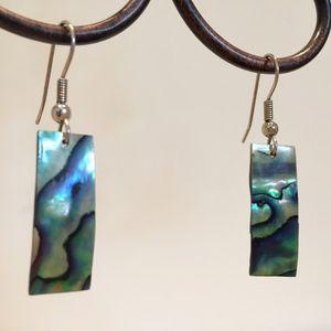 Natural abalone rectangle earrings